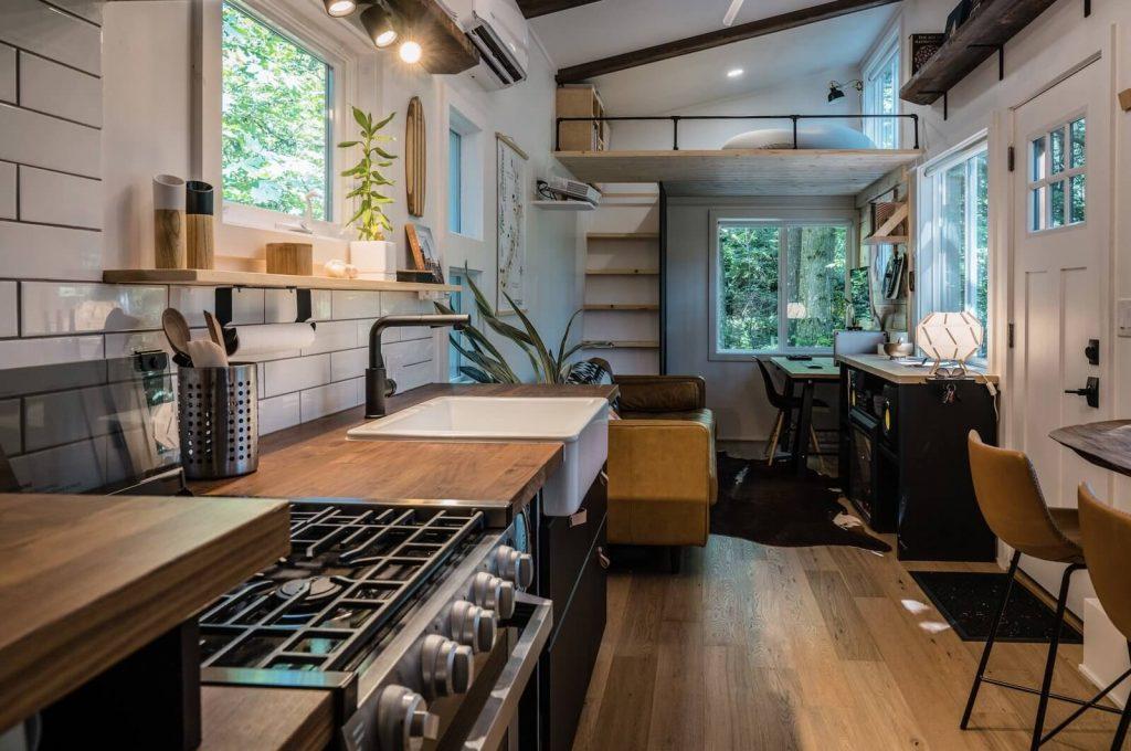 Japandi designed tiny home interior