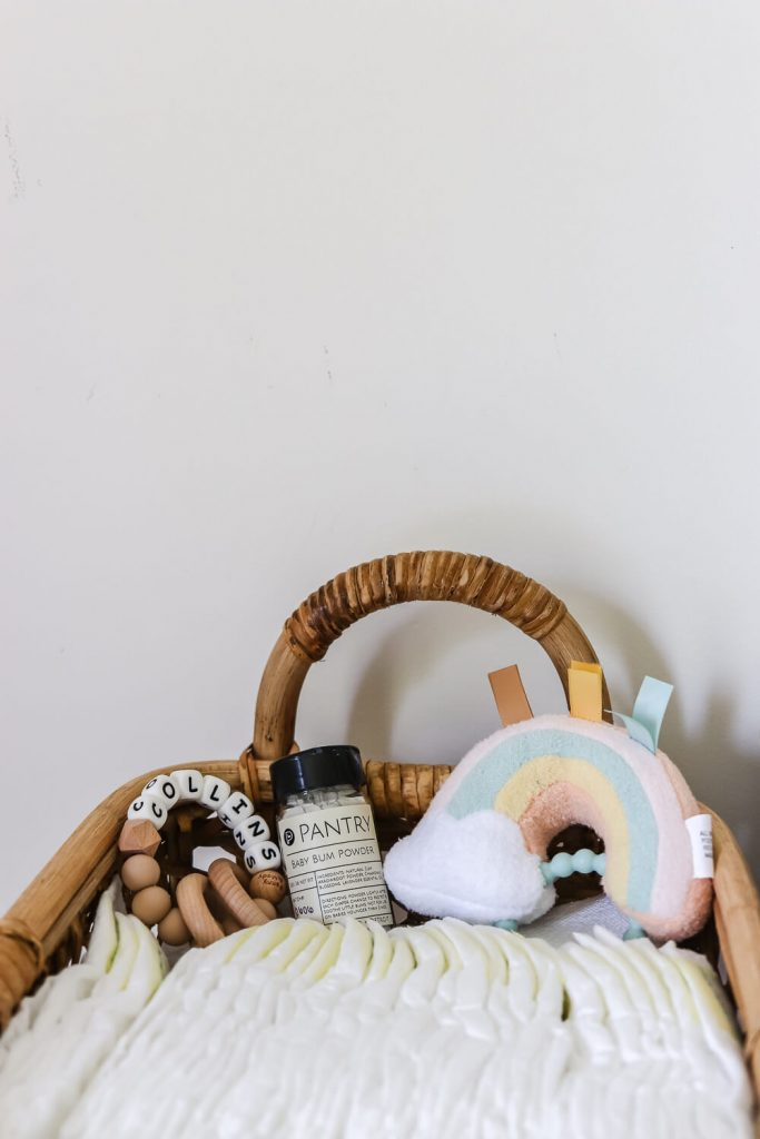 close up of diapers in rattan storage