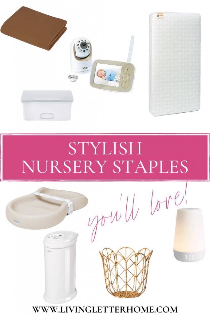 Stylish nursery essentials pinterest graphic