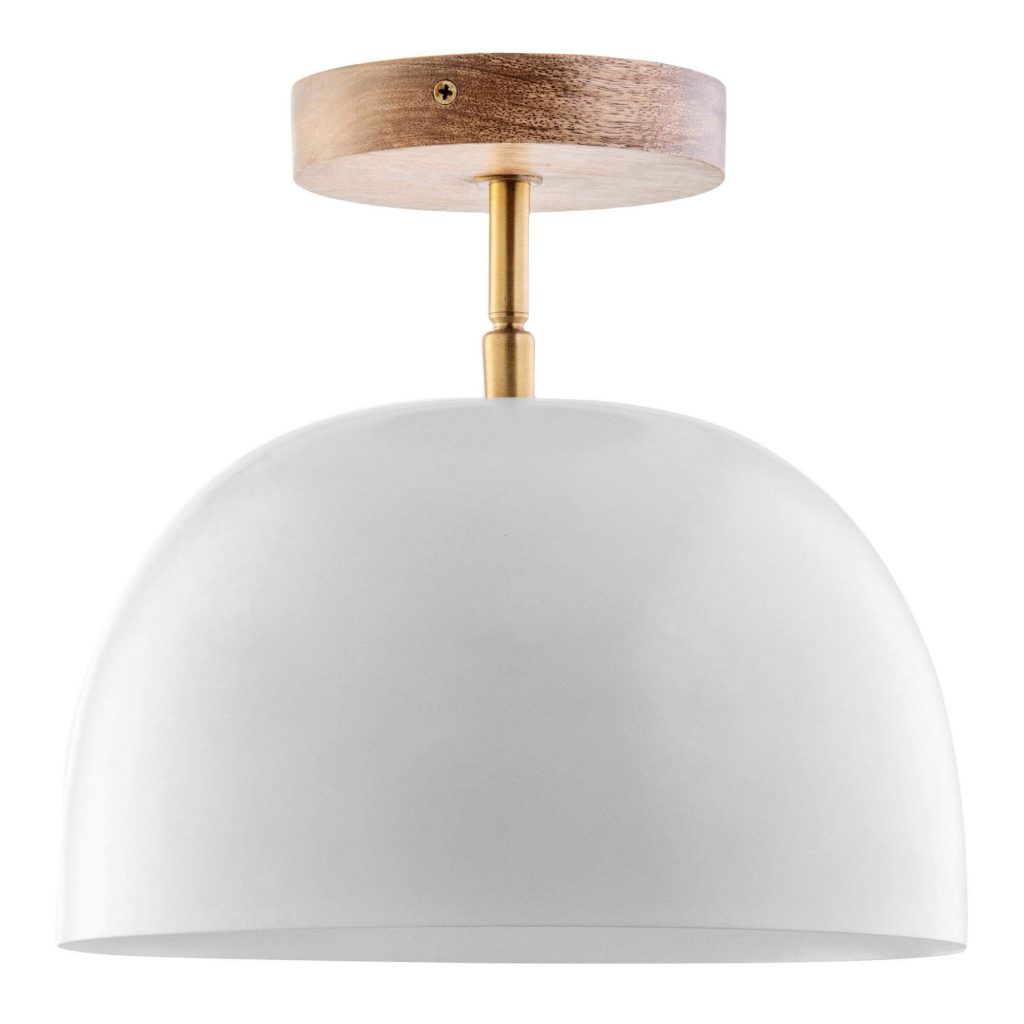 white semi flush mount light with wood pendant base