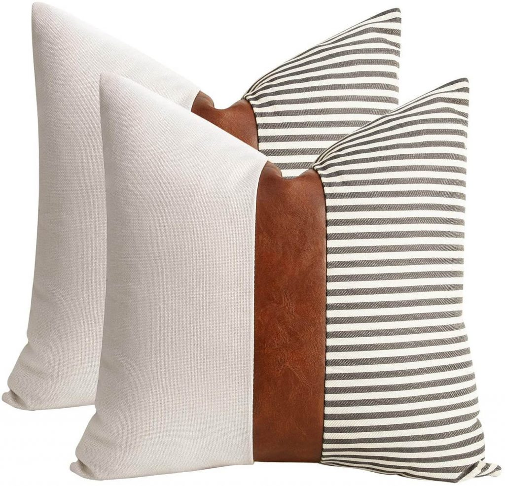 set of 2 white and striped pillow cover with leather around the middle