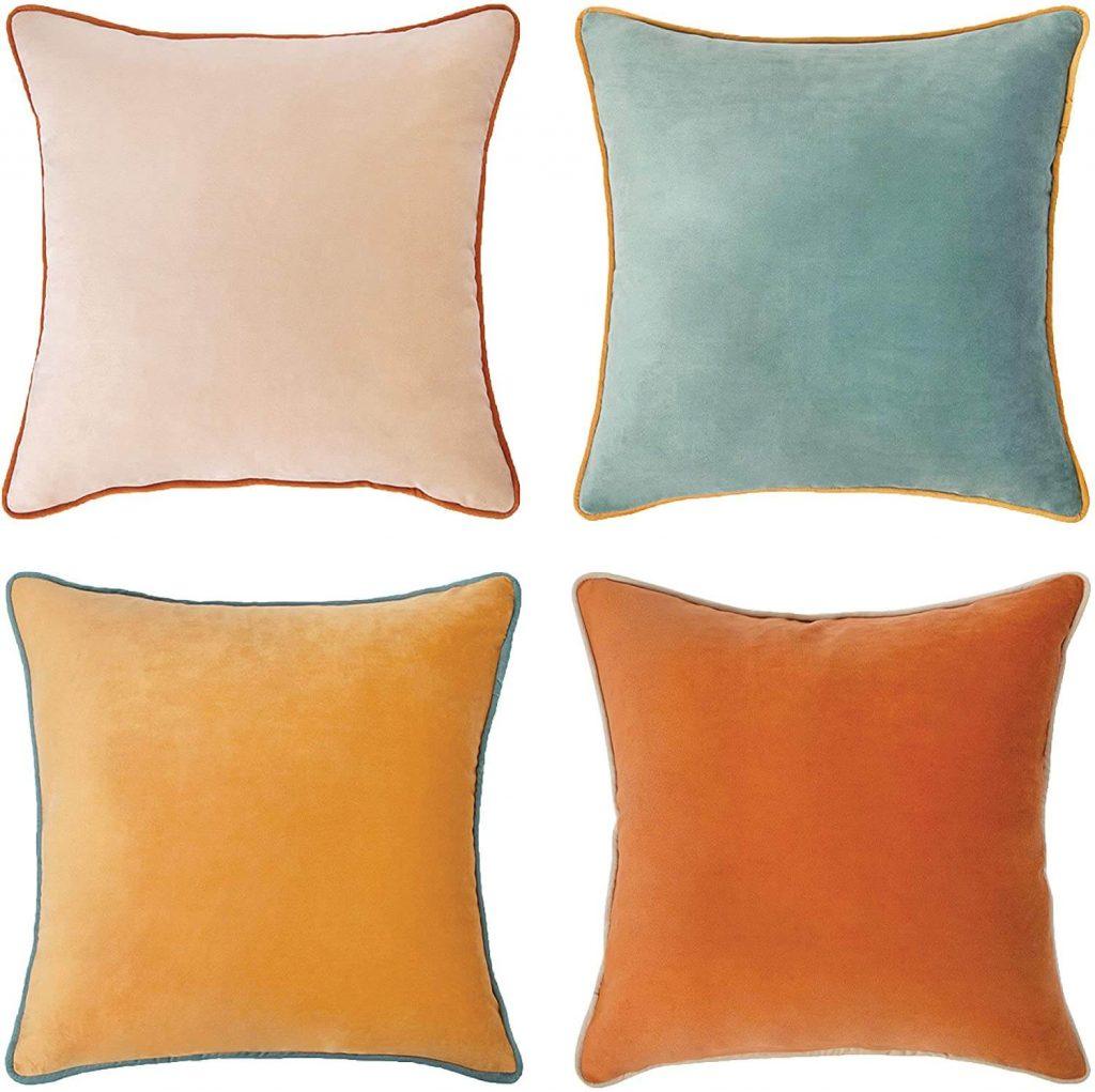 set of 4 velvet fall pillow covers