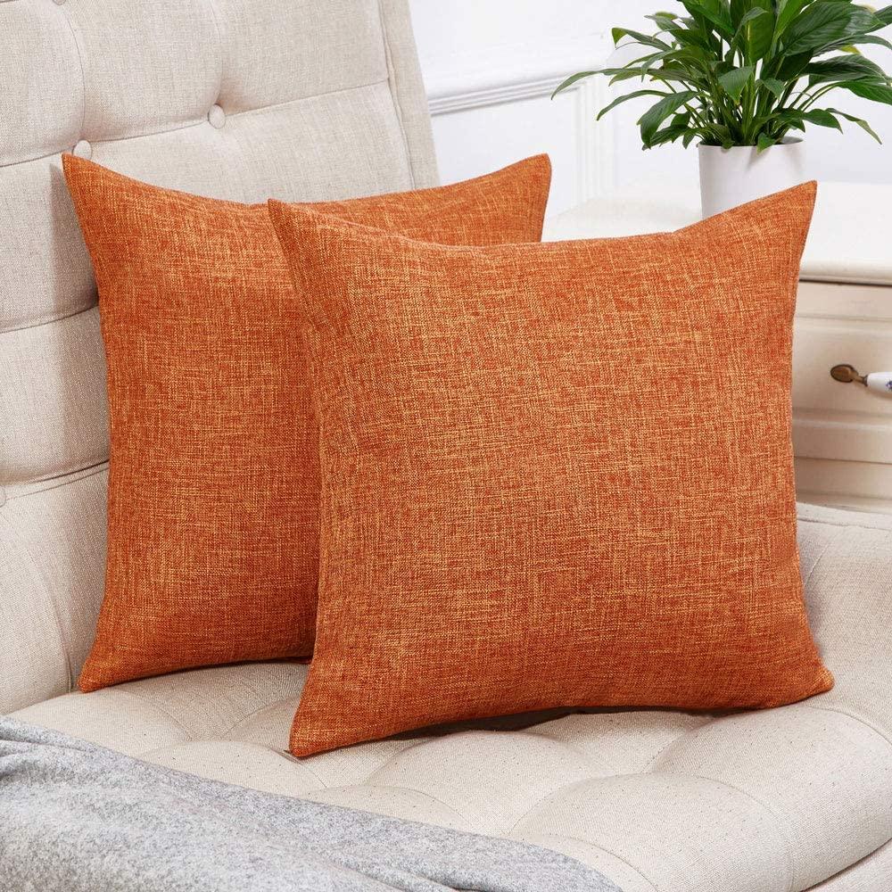 set of 2 orange pillow covers