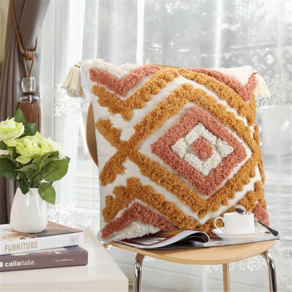orange geometric pillow cover