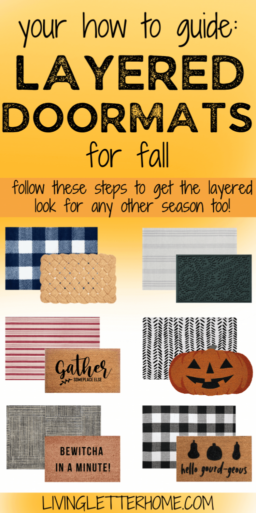 your how to guide for layered doormats for fall graphic