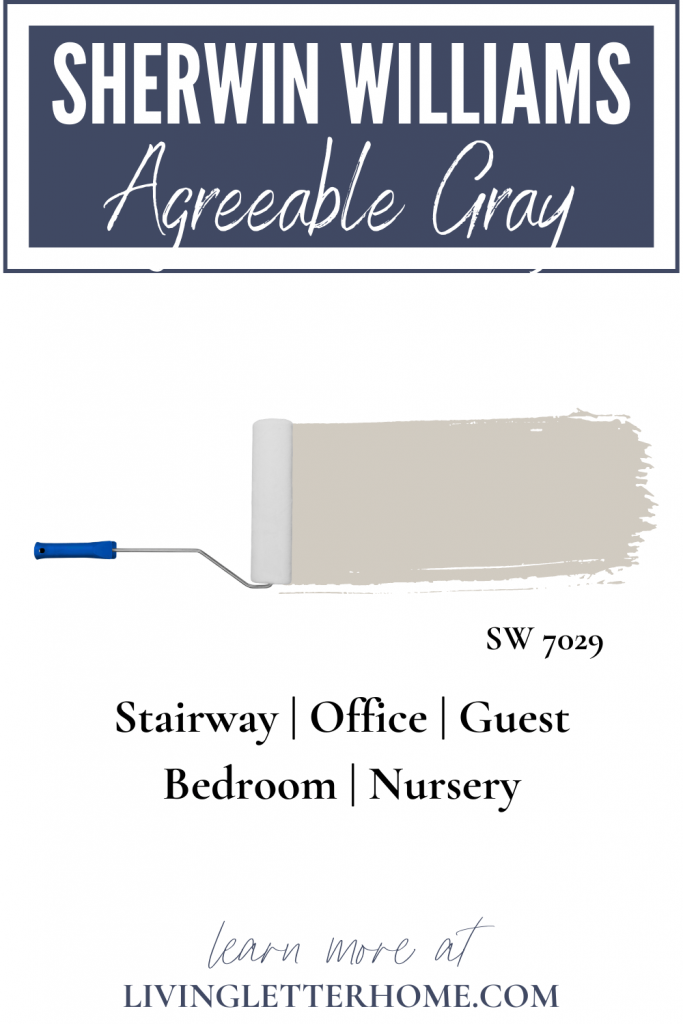 Sherwin Williams Agreeable Gray in stairway, office, guest bedroom and nursery graphic