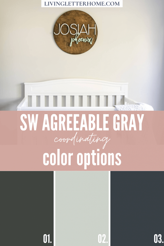 Sherwin Williams Agreeable Gray coordinating color options graphic